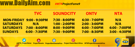 MTN Project Fame Season 9 T.V SCHEDULE, Date and Time