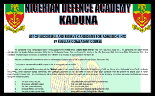 Nigerian Defence Academy Shortlisted Candidates 2018 For 36 States