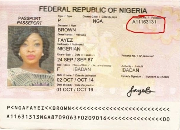 Where is the Nigerian Passport Book Number located