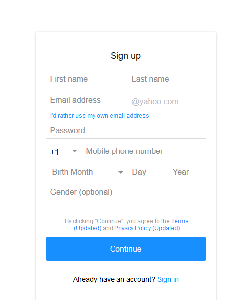 Sign Up New Yahoo Account