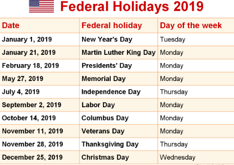 USA Up Coming Holidays