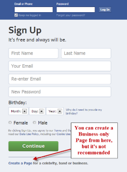 Sign Up Facebook Personal Account
